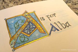 Illuminated letter A - faux gold leaf, color