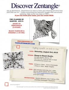 Zentangle clases in Barton, VT