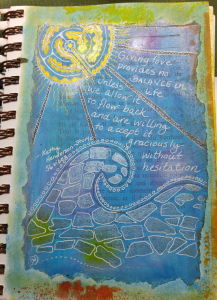 layered mixed media art journal example