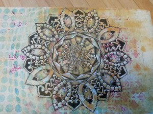 snowflake mandala on print by Sadelle Wiltshire, 2015