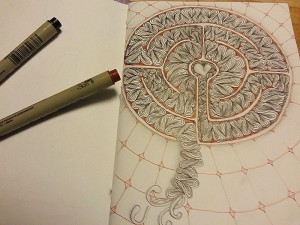 Tangled Labyrinth with brown and black microns