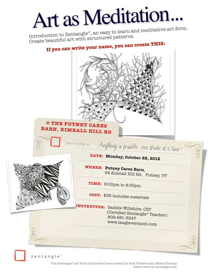 Intro to Zentangle,  Putney VT Oct 22nd 2012