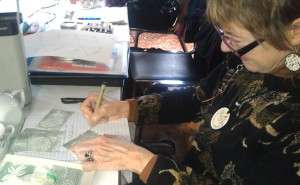 MaryAnn creating ATCs for us