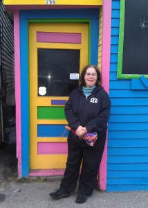 me at colorful doorway