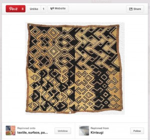 Pin found with examples of Kuba Cloth patterns.