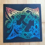 scratch art with border patterns