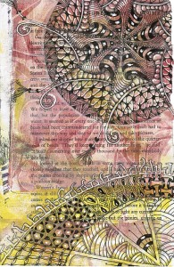 Tangled gelatin plate printed book page, by Sadelle Wiltshire, CZT