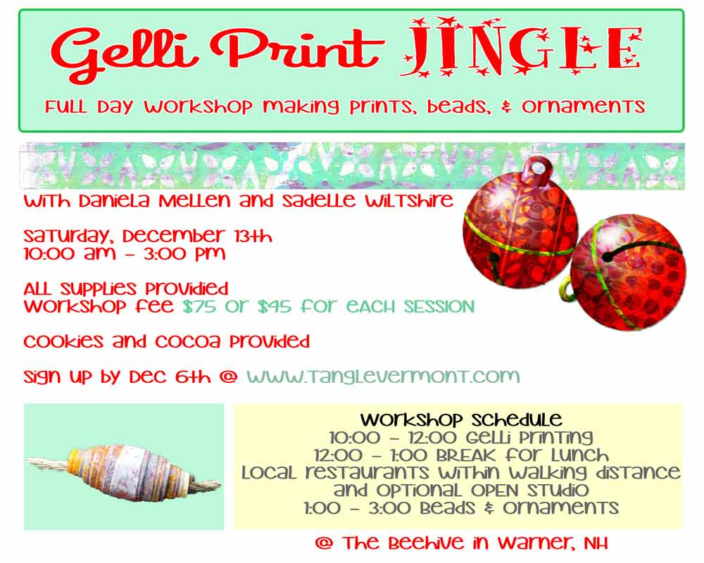 Gelli Jingle Prints Ornaments and Beads Dec. 13 2014 with Daniela Mellen and Sadelle Wiltshire