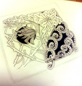 """Forest Zentangle """"tile"""" by Sadelle Wiltshire, CZT"""