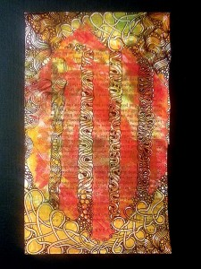 Zentangle embellished columns on a Gelli Print by Sadelle Wiltshire, CZT