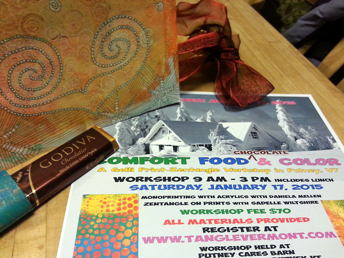 "Comfort food and Color Gelli Plate printing and Zentangle ""Playshop"" in Putney, VT January 17, 2015"