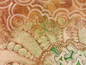 Gelli Plate Print with Zentangle embellishments via colored pens by Sadelle Wiltshire, CZT