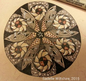 Closeup of Zendala from modified coloring mandala design, (c) 2015, Sadelle Wiltshire, www.tanglevermont.com