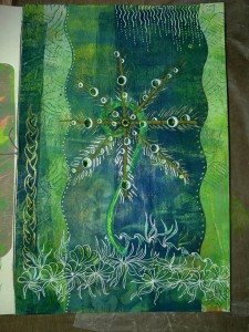 Finished dew inspired fern page, interpreted loosely, pen work on top of collaged gelli prints