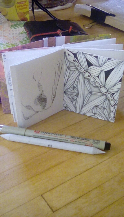 January prototype mini journal for sketching and tangling