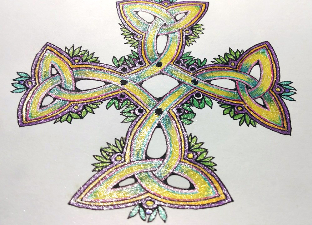 Carolingian Cross Knot with glitter pens